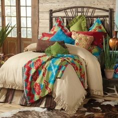 Western Decor Las Cruces bed in a bag western comforter set features a rich tan faux leather comforter with embroidered turquoise crosses framing the comforter's edge. Description from pinterest.com. I searched for this on bing.com/images