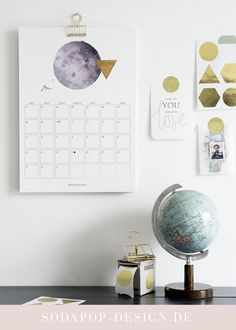 "Printable Kalender ""Moon"" 2018"