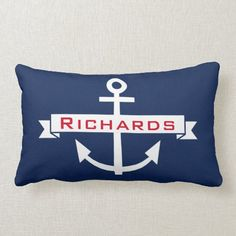 Anchor Navy Blue White Nautical Monogram Pillow