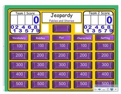 This is a smart board file that can be used at the end of the Engage New York Grade 1 ELA Listening & Learning Domain 1, Fables and Stories Unit. This Jeopardy game reviews all of Domain 1. This is best if used before the Domain 1 Assessment.