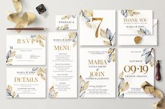 OLA Wedding Invitation Suite contains 8 templates as well as leaves, branches, splotches, letters and digits so you can customise templates very easy. The color scheme is black watercolor and golden texture — an evergreen classic! Collage Template, Menu Template, Card Templates, Invitation Templates, Wedding Invitation Suite, Invitation Design, Golden Texture, Welcome Poster, Event Themes
