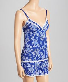 Take+a+look+at+this+Blue+Floral+Camisole+&+Pajama+Shorts+-+Women+on+zulily+today!