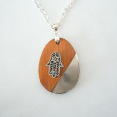 Hamsa on Wood & Silver Pendant by creationsbylr on Etsy, $22.00