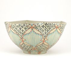 Ceramic Bowl with Salmon Pink Navy and by dawndishawceramics, $58.00