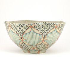 Ceramic Bowl with Salmon Pink Navy and by dawndishawceramics, $58.00