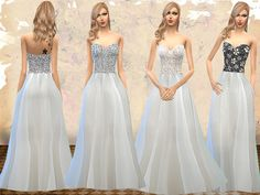 The Sims Resource: Strapless Wedding Dresses by Melisa_Inci • Sims 4 Downloads