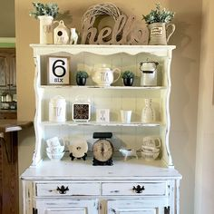 My hutch that I chalk painted and distressed for my Rae Dunn display! LOVE!!!!