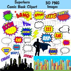 Superhero Clipart Photo booth Party Props Set  30 by BridalBust