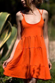 Vestido algodón naranja 01