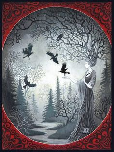 The Goddess Macha and the Unkindness of Ravens A print of the original painting by Emily Balivet, 2015. Macha is an Irish war Goddess, strongly linked to the land. She is an aspect of the triple Goddess known as the Morrighan along with her sisters Badb and Anu. All three could take the form of crows or ravens, and would fly over battlefields, choosing who would die and who would live. They would then take the souls of the deceased in their black wings, flying them off to the Otherworld…