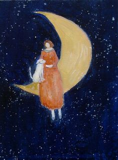 Over the Moon, A GICLEE PRINT from an original oil painting, 8x10 on Velvet fine art paper, dog, woman, moon  Your best friend will go anywhere  All I need is my pooch!
