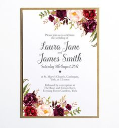 This Boho Floral themed invitation would be perfect for a rustic wedding or…