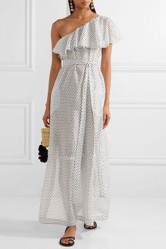 Lisa Marie Fernandez | Arden white one-shoulder polka-dot cotton-voile maxi dress | NET-A-PORTER.COM