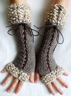 Knit Fingerless Gloves Long Wrist Warmers Taupe/ Grey Brown Corset  with Suede Ribbons Victorian Style