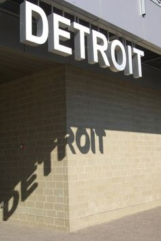 Detroit typography and shadow Detroit Rock City, Detroit Area, Detroit Michigan, Wayfinding Signage, Signage Design, Office Signage, Environmental Graphics, Environmental Design, Samara