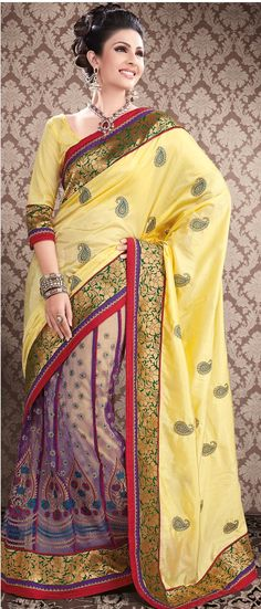 #Yellow and #Purple Art #Silk #Lehenga Style #Saree With Blouse @ $112.69