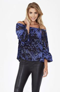 Two of the season's key trends—flocked velvet and the cold shoulder—combine in this perfect-for-going-out blouse. Parker Ny, Going Out, Peplum, Velvet, Blouse, Long Sleeve, Sleeves, Tops, Women