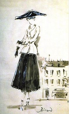Christian Dior illustration by Christian Berard for French Vogue, 1947.