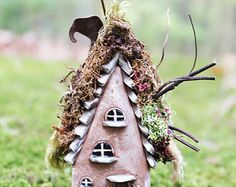 Fairy Willow House, 3 1/2 inch tall fairy house miniature / hand sculpted one of a kind for mini fairy village or set