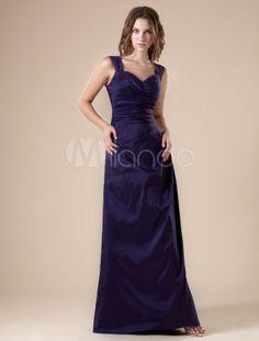 Schönes Etui-Brautjungfernkleid aus Taft mit Herz-Ausschnitt und Falten in Dunkellila - Milanoo.com