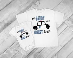 My Daddy has a Sweet Ride police patrol cop car Baby kid boy girl Personalized name or number toddler Tee Sweatshirt Hoodie Onesie!
