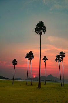 Sunset over Kovalam.