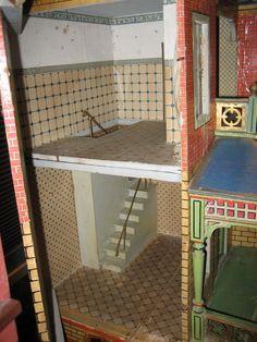Large Antique German Gottschalk Blue Roof doll house from sondrakruegerantiques on Ruby Lane