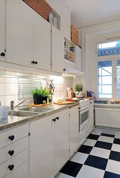 Search Results For U201ccharming Kitchen Design For Small Apartment White  Kitchen Cabinet And Granite Kitchen Countertop And Black White Tile Flooring Ideasu201d  U2013 ...