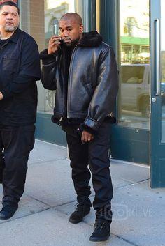 Kanye West wearing  Vans Old Skool Sneakers, Schott NYC Classic B-3 Sheepskin Leather Bomber Jacket