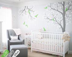 Tree wall decal nursery with branch wall decor nursery wall art sticker mural white tree wall decals tattoo KW016-2