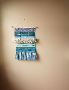Modern Tapestry / Boho Wall Hanging / Fringe Tapestry / Crochet Hand Woven Tapestry / Blue Teal Grey / Rustic Textile / Modern Home Décor