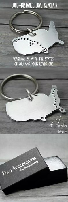 These charming key chains are stamped with hearts and tiny dots connecting them together. They're perfect for military families, kids away from home, long distance relationships and even sending your 'babies' back to school. Pure Impressions creates its hand stamped jewelry and inspiration jewelry one at a time.