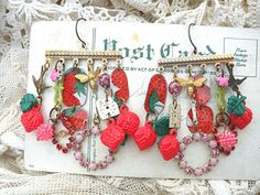 strawberry earrings charm chandelier assemblage от lilyofthevally