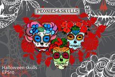 Peonies&skulls.Calaveras. by skvorka on @creativemarket