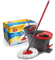 """Mop has telescopic aluminum handle with washable microfiber triangular mop head. 75% recycled high quality bucket with spin wringing mechanism activated by foot pedal. Wringer controls the dampness of the mop and the funnel design prevents water splashes. Ideal for all types of hard floors. Refer to Model No 140742 (SKU 600833) for the mop head refill. No. 140741: Material: Microfiber Head, Painted Steel Handle, Type: Wring Mop, Mop Head Size: 6"""" Triangle, Height: 55"""", Pkg Qty: 1, ..."""