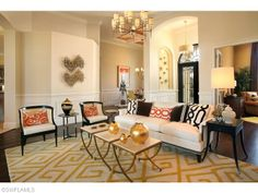 Transitional Living Room | Sunnyslope Dr in Quail West | Naples, Florida