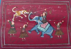 VINTAGE INDIAN WATER COLOR HAND MADE PAINTING OF TIGER HUNTING WITH ELEPHANT - http://art.goshoppins.com/paintings/vintage-indian-water-color-hand-made-painting-of-tiger-hunting-with-elephant/