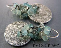 Paisley Gypsy PMC Recycled Silver & Gemstone by kristaskorner
