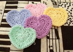 Crochet Heart Appliques by FineThreads on Etsy, $3.75