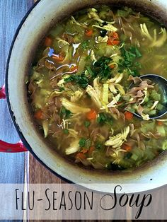 One way to fight off these nasty cold and flu germs this winter is with an awesome, healthy, and wholesome chicken noodle soup recipe. You're welcome.