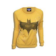 Junk Food Clothing - - Batman Bat Symbol ($48) ❤ liked on Polyvore featuring tops, sweaters, shirts, batman, junk food clothing, brown shirt, brown tops, shirts & tops and bat shirt