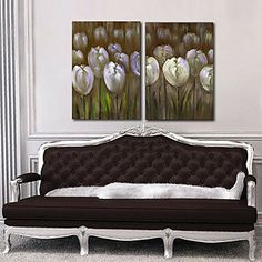 Stretched Canvas Print Art Floral Poppies Set of 2 – USD $ 49.99
