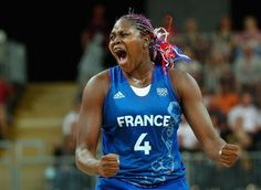 Isabelle Yacoubou #4 of France reacts against Brazil during Women's Basketball on Day 1 of the London 2012 Olympic Games at the Basketball Arena on July 28, 2012 in London, England.