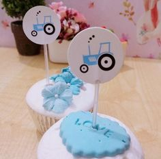 New Sale 30 Pcs Blue Car Cupcake Topper Cake Accessories Kids Birthday Party Supplies Decoration Event Party Supplies