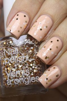 grape fizz nails: Peach and Glitter