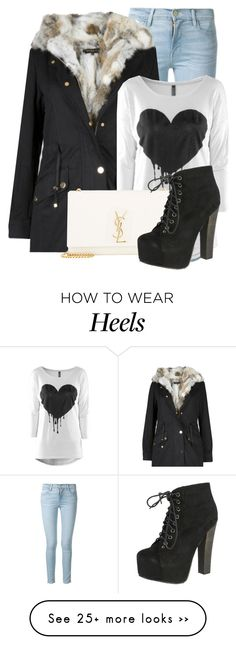 """Untitled #1231"" by andreastoessel on Polyvore featuring Frame Denim, Yves Saint Laurent and Breckelle's"