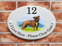 Brindle Staffy dog on a grassy field house sign Staffy Dog, Dalmatian Dogs, Yorkie Dogs, Black Labrador Dog, Dog Breeds Pictures, House Signs, Popular Dog Breeds, Cocker Spaniel Dog