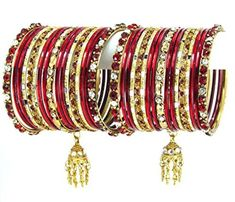Bollywood Indian designer Bangle Set. Size:2-04. Color:Gold / Red / AZBGBZ101-2-04-GDR Arras Creations http://www.amazon.com/dp/B00TMB9586/ref=cm_sw_r_pi_dp_LDm6ub0EQEM1K
