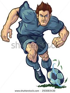 #Vectorillustration of a tough, determined #soccer or #football player dribbling the ball forward. Color and Uniform elements are on separate layers in vector file for easy customizing.