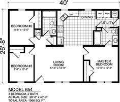 Model 654 1066 Sq.FT | 3 Bedrooms | 2 Baths Retail $73,500
